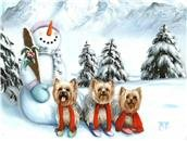 Christmas, winter, painting, print, Yorkshire Terrier, art, Yorkie note cards