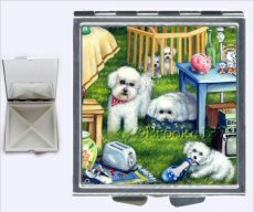 Two Bichons, Bichon Frise, oil painting, dog painting, pill box, dog art, mirrored compact, dog pill box, aspirin box, tylenol case